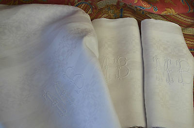 "5 huge antique pure linen MB monogrammed damask napkins, 35"" x 30"""