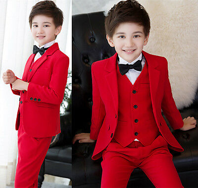 New Red Boys 3 Piece Suits Kid's Groom Suit Wedding Page Boy Baby Formal Party