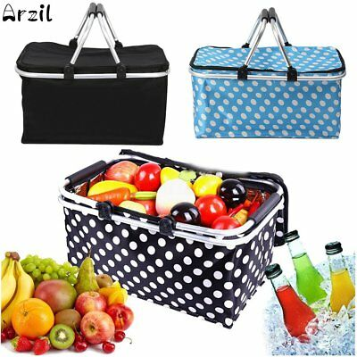 30L Outdoor Foldable Thermal Insulated Picnic Storage Zip Basket Bag Aluminum