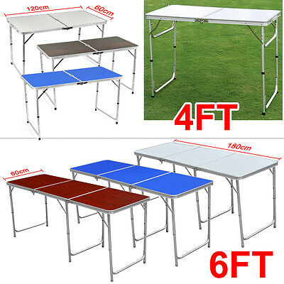 Adjustable Portable Folding Table Trestle Party Outdoor Camping BBQ Picnic Table