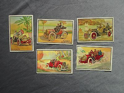 5 Cartes Automobiles Anciennes Genre Chromo Ou Offset - Apperson Studebaker