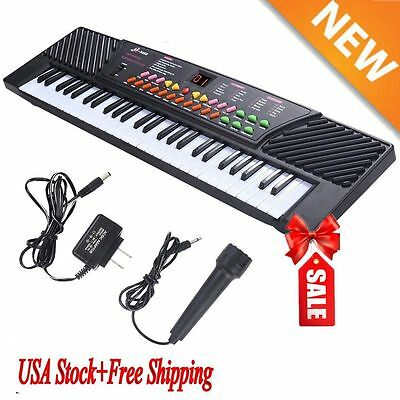 2017 54 Keys Music Electronic Keyboard Kid Electric Piano Organ W/Mic & Adapter