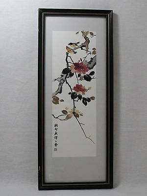 Japanese Painting Overlay Singing Birds Sitting Branch Cherry Blossoms Signed
