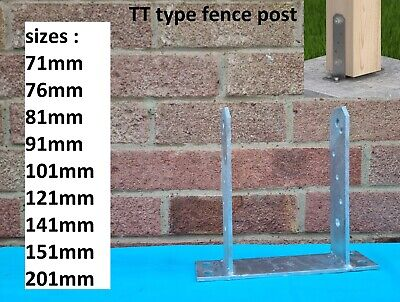 "Heavy Duty Galvanised (""Tt"" Type)Metal  Fence Post Foot Bracket Anchors Support"
