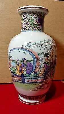 Japanese Vase Large Urn Ceramic Painted Pottery Great Condition