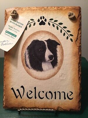 Handcrafted Slate Plaque – Border Collie Welcome Kimscrafts NWT New