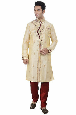 Indian Designer Gold Kurta Sherwani for Men 2pc Suit - (Worldwide Postage)