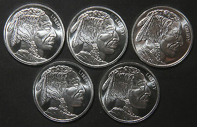 Five (5) Indian Buffalo Silver Rounds 1 Troy Oz .999 Pure  Lot C4