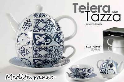 Set Blu Teiera Tazza Piattino In Porcellana Deco Mediterraneo Ela