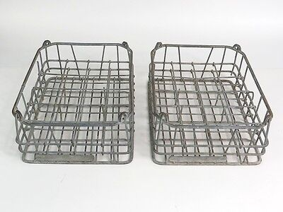 Vintage Homestead Dairy Metal Wire Cream Bottle Carrier Crate Box Pair