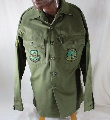 Large Vietnam USAF Military Air Lift Command Shirt Utility 438th OMS Oue Je Puis