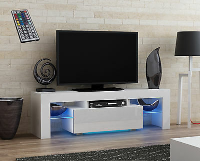 High Gloss Cupboard TV Cabinet Stand Unit 130cm Board Modern Led White RGB