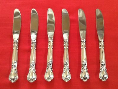 Gorham CHANTILLY 6 Sterling Hollow Handled Butter Spreaders