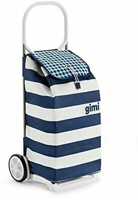 Wheeled Shopping Trolley with Rain Proof Bag - Blue and White