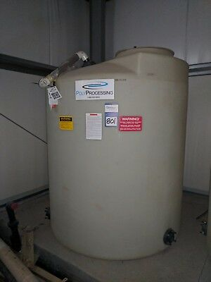 """904 Gallon Poly Processing Vertical Tank, 64"""" Diameter, 66"""" SS, coned top"""