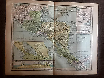 Antique Map Central America Original 1900 International Cyclopaedia Insert