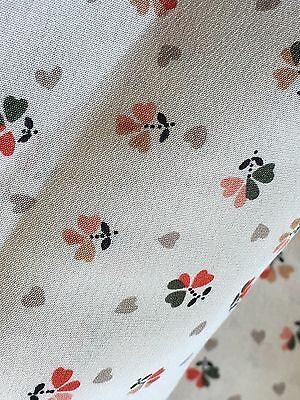 """Vintage Kanebo Intl Clovers Gray Hearts Polyester Fabric 44"""" Wide PRICE PER YARD"""