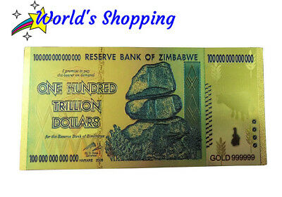 $100 Trillion Dollar Zimbabwe Note In 24 Carat Gold Leaf