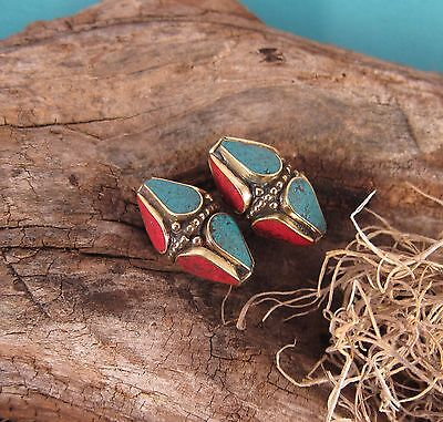 Zen Canyon Large Tibetan Turquoise Coral Brass Marquise Beads 2 Pack Fair Trade