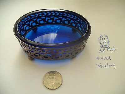 Master Salt Dish Footed Colbalt Blue and Sterling Hallmarked