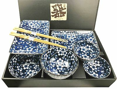 Japanese Design Flower Pattern Motif Ceramic Sushi Dinnerware 8 Pcs Set for Two