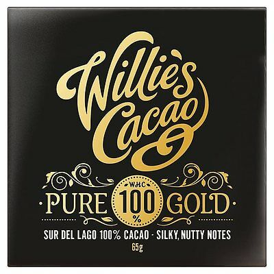 Willie's Cacao Pure Gold 100% Cocoa, Dark Chocolate Bar 65g Low-Carb Paleo LCHF