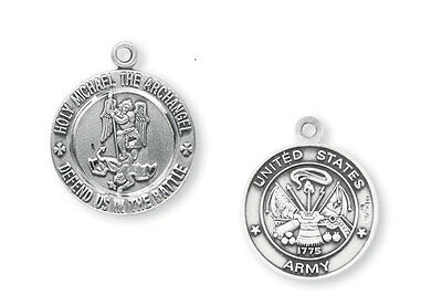 Sterling Silver Army Medal W/Saint Michael On Reverse Side