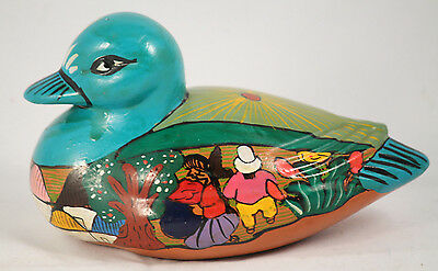 Vntg Ceramic Duck Mexico Handmade/Painted Folk Art Collectible Colorful Town