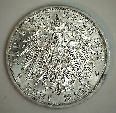 1913 A Silver Prussia German States 3 Mark Coin BU