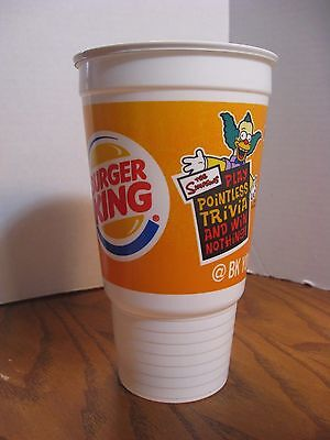 Burger King - The Simpsons -  32 oz. Plastic Cup - New - Pointless Trivia - 2002