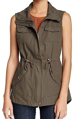 Sebby Women's Size Large Sleeveless Zip/Button Up Jacket Cinder Brown