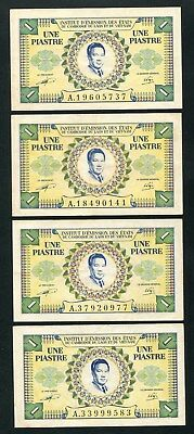 French indo china banknote 1 piastre < lot of 4 note > 1953 P.104 XF no pinhole