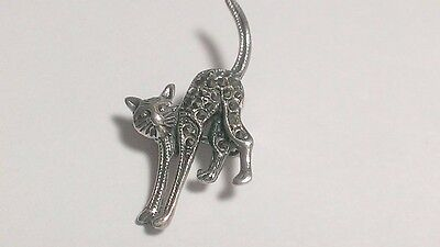 Silver Crystal Kitty Cat Pin Vintage Brooch