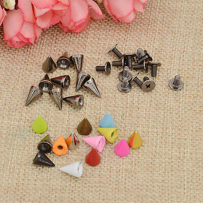 7mm Metal Bullet Spikes Studs Rivets Cone Screwback Alloy Leathercraft 10 Pcs