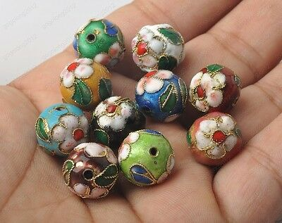 Chinese Multi-Colors Cloisonne Enamel Round Beads 6mm/8mm/10mm/12mm/14mm/16mm