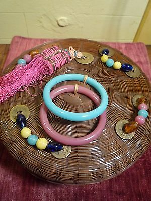 Antique Chinese wicker sewing basket peking glass beads bangles tassles,coins
