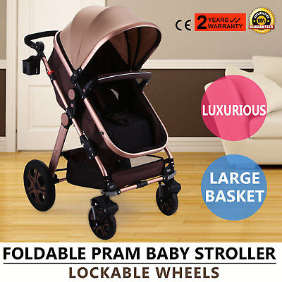Baby Pushchair Swivel Wheels Pram Travel System Stroller Foldable Buggy 3 CE