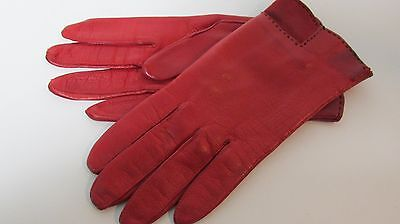 """Vintage RED Leather Gloves - Suede Trim, Lined - Size 7 - 8.5"""" - Made in Italy"""