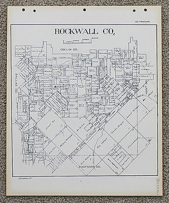 Texas Rockwall County Map Land Office Blue Line Plats Property Owners Rare