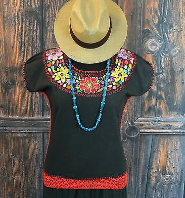 Hand Embroidered Multi-Color & Black Huipil Blouse, Oaxaca Mexico Hippie Cowgirl