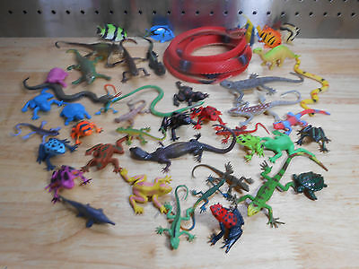 Lot of 44 Rubber & Plastic Snakes, Frogs, Lizards, & Turtles