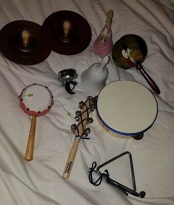 Misc. Musical  Hand Instruments- Bells, Maraca, Cymbal, Drum, Triangle, Whirling