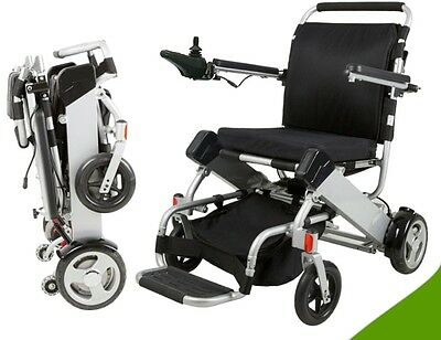 Electric Lightweight Folding Wheelchair 2 x Lithium Batteries Disability 180W x2