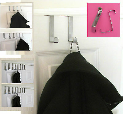 2/4/6/8/12 Pack Brushed Chrome Reversible Over The Door Hooks Coats 2-4Cm Doors