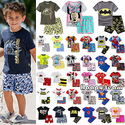 2pcs Kids Boys Summer Outfits Clothes T-shirt + Shorts Pants Nightwear Pj's Set
