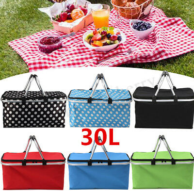 Insulated 30L Zip Up Picnic Lunch Basket Cooler Outdoor Food Storage Carry Bag
