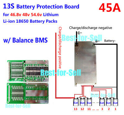 BMS PCB for 48V 13S 45A Li-ion Lipolymer Battery with BALANCE for ebike escooter