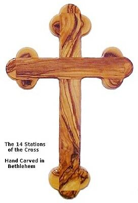 14 Stations Olive Wood Cross - Wall Hanging - 9""