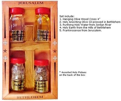 Four (4) Bottles and Cross ~ Set