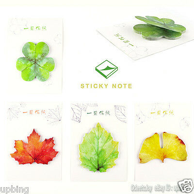 4 Pack (120 Sheets ) Nature Leaf Ginkgo Clover Maple Leaves Sticky Notes POST-IT